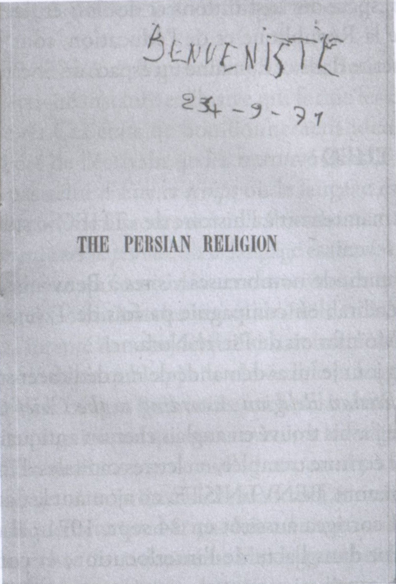The Persian Religion According to the Chief Greek Texts  dédicace à JK